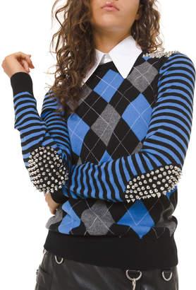 Michael Kors Cashmere Studded Argyle Pullover Sweater