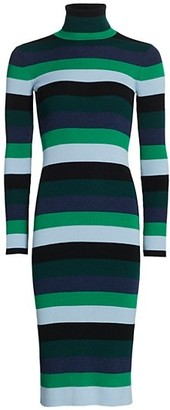 STAUD Lisa Striped Knit Turtleneck Dress