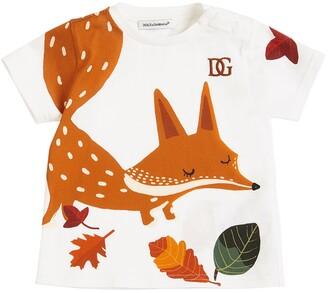 Dolce & Gabbana Fox Print Cotton Jersey T-Shirt