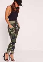 Missguided Petite Exclusive Lace Up Camo Joggers Khaki