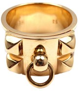 Hermes Collier De Chien 18k Yellow Gold Enamel Band Ring