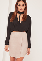 Missguided Nude Faux Suede Asymmetric Wrap Mini Skirt