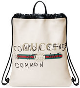 Gucci Print Leather Drawstring Backpack, White