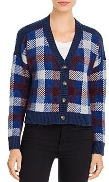 1 STATE Plaid Cropped Cardigan