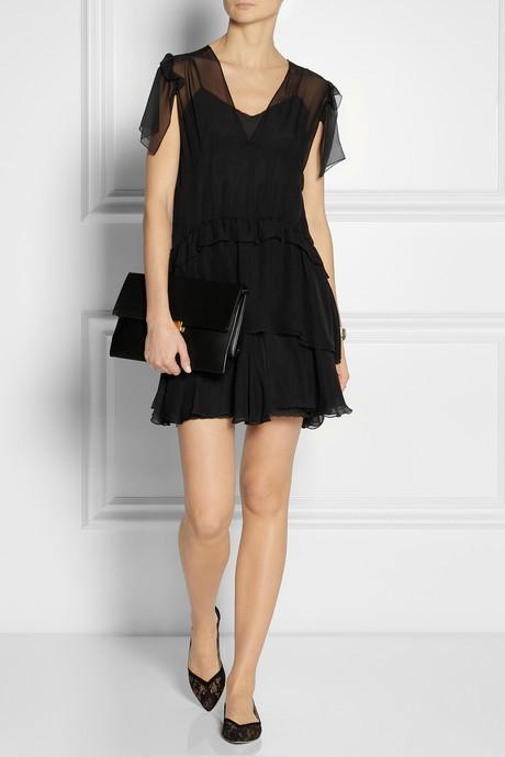 Miu Miu Tiered silk-chiffon mini dress