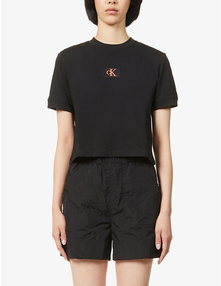 Calvin Klein Logo-embroidered cropped cotton-jersey T-shirt