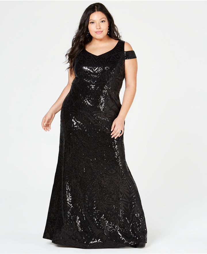 Plus Size Sequined Cold-Shoulder Gown