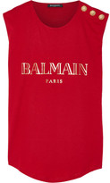 Balmain Embellished Printed Cotton-jersey Top - Red