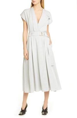 Proenza Schouler Suiting Faux Wrap Midi Dress
