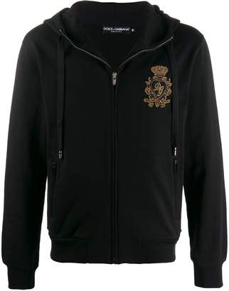 Dolce & Gabbana chest crest zipped hoodie