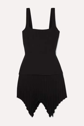 Dion Lee Pleated Bonded Crepe Mini Dress - Black