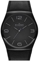 Skagen 'Studio' Round Leather Strap Watch, 42mm.