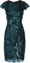 Badgley Mischka Sequined corded lace dress