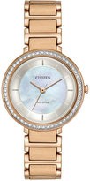Citizen Women's Eco-Drive Silhouette Crystal Jewelry Rose Gold-Tone Stainless Steel Bracelet Watch 30mm EM0483-54D
