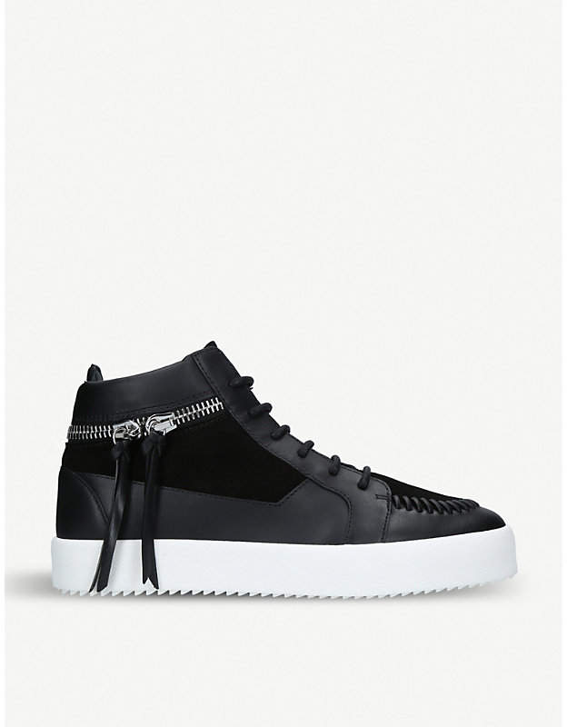 Giuseppe Zanotti Tasselled-zip suede and leather trainers