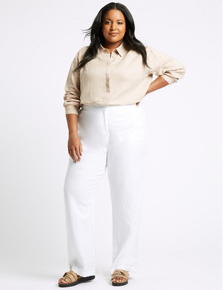 Marks and Spencer CURVE Linen Wide Leg Trousers
