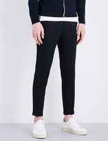 Sandro Slim-fit tapered wool-piqué trousers