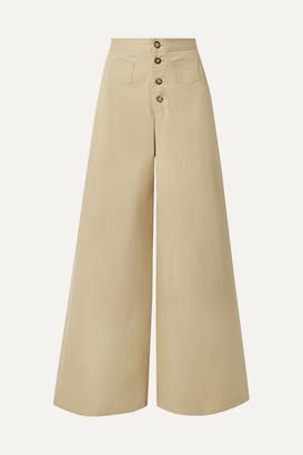STAUD Martin Cotton-blend Gabardine Wide-leg Pants - Beige