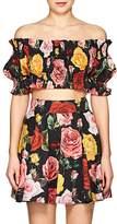 Dolce & Gabbana Women's Rose-Print Poplin Off-The-Shoulder Crop Top