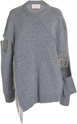 Christopher Kane Cutout Chain-Embellished Virgin Wool Sweater
