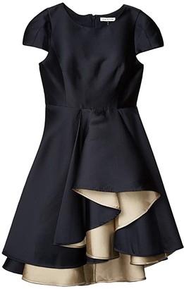 Halston Dramatic Skirt Dress (Navy/Champagne) Women's Clothing