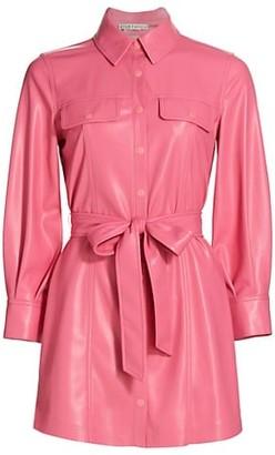 Alice + Olivia Miranda Vegan Leather Belted Shirtdress