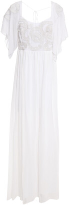 Just Cavalli Open-back Embroidered Chiffon Gown