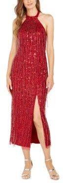 Adrianna Papell Sequinned Halter Midi Dress