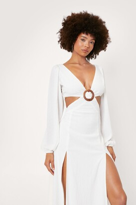 Nasty Gal Womens Chiffon Hoop Cut Out Maxi Dress - Cream - 6