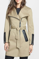 Mackage Leather Trim Asymmetrical Zip Long Trench Coat