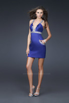 La Femme Glittering Empire Waist Sheath Cocktail Dress 16540