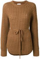 EN ROUTE tie waist waffle knit jumper