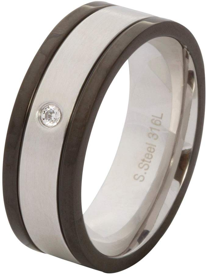 8ae8e13ee5c22 Stainless Steel, Cubic Zirconia & Black Mens Ring