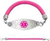"""Divoti Custom Engraved Lovely Filigree Medical Alert Bracelet -Pink Lamb Leather Band-Violet-7.5"""""""
