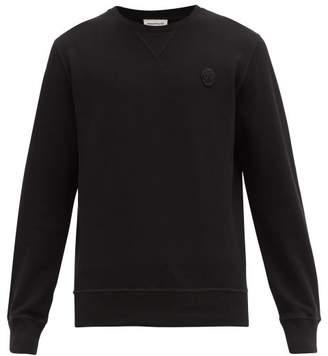 Alexander McQueen Skull Embroidered Cotton Sweatshirt - Mens - Black