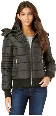YMI Jeanswear Snobbish Polyfill Bomber with Faux Fur Trim Hood (Black) Women's Clothing