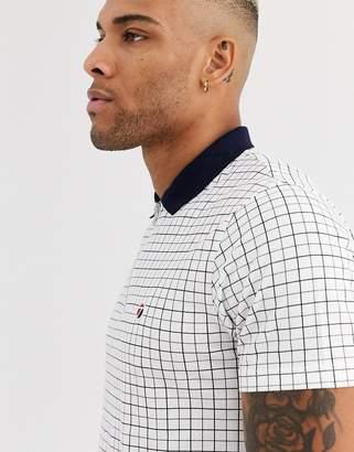 Topman polo shirt in white check