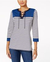Charter Club Cotton Lace-Up Top, Created for Macy's