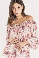 Miss Me Junior's Off The Shoulder Bell Sleeve Top Blouse