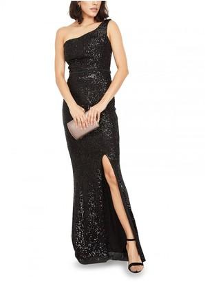 Elie Mimi + Alice One Off-Shoulder Sequin Evening Dress