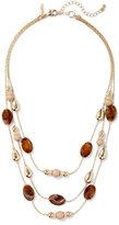 New York & Co. Beaded Triple-Row Goldtone Necklace