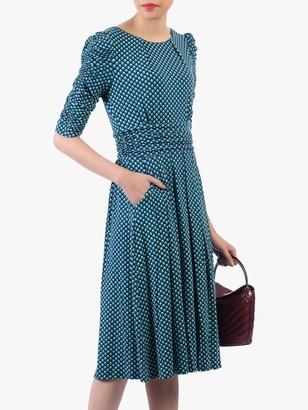 Jolie Moi Flared Puff Sleeve Midi Dress, Blue Geo