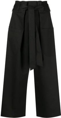 Semi-Couture Wide-Leg Cropped Trousers