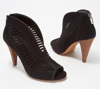 Vince Camuto Leather Peep-Toe Booties- Acha