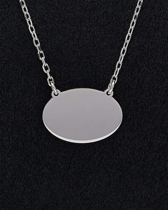 Italian Silver Oval Plaque Necklace