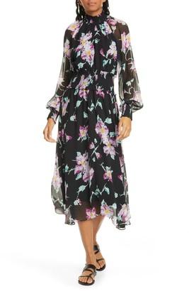 A.L.C. Casey Floral Long Sleeve Silk Midi Dress