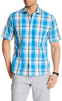 Toscano Short Sleeve Plaid Regular Fit Shirt