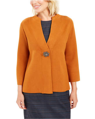 JM Collection Holiday Party Brooch Cardigan