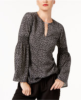 MICHAEL Michael Kors Leopard-Print Bell-Sleeve Top, Created for Macy's