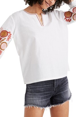 Madewell Embroidered Sleeve Popover Top
